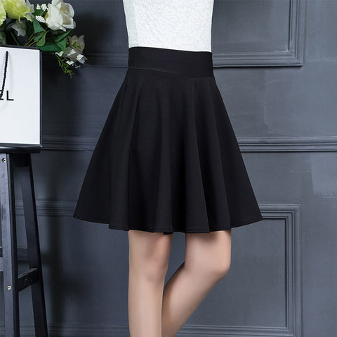 Korean high waist basic umbrella pleated dancing skirt skater puffy bottom dress plus size