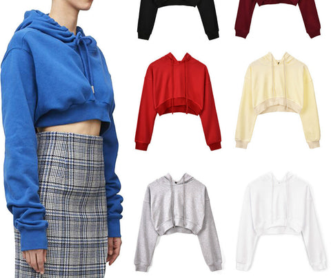 Crop Top Puffy Sleeve Pullover Hoodie Various Colors Sweater Sweatshirt