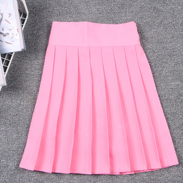 Japanese Pleated Skirt Kawaii Cosplay Macaron Color High Waist skirt with safty pants JK Style for Girls 2288