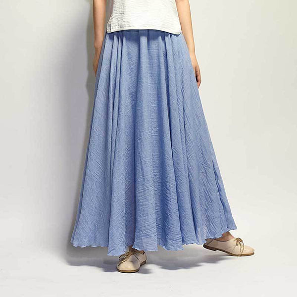 Women Femme Artistical Large cotton and Linen Swinging Skirt with Elastic Waist Lengthy Bust Skirt 2 Layers
