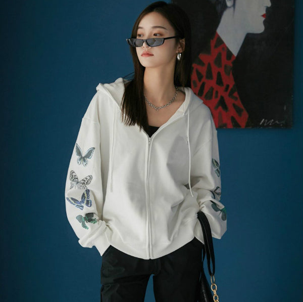 fashionable sweater sweatshirt women new zipper Hoodie Korean loose fit butterfly printed cardigan