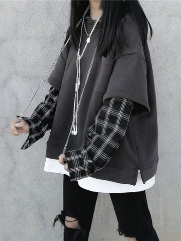 2021 Dark Gothic Kawaii checkered plaid hoodie fake two-piece sweater top with warm lining