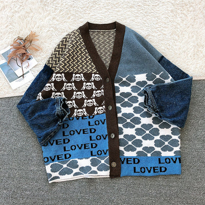 2021 Korean Harajuku Lamb Wool Loved Knitwear Argyle Splice Denim Cardigan BTS