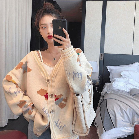 Autumn Winter V-Neck Sweater Knitwear Jacket loose fit Warm Cardigan Teddy Bear Print Outfit Coat