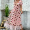 sequin embroidery French dress gauze trim strawberry applique bubble sleeves plus size