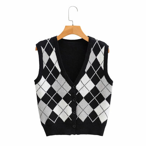retro vintage jacquard argyle vest for 2021 spring slim fit sleeveless sweater cardigan