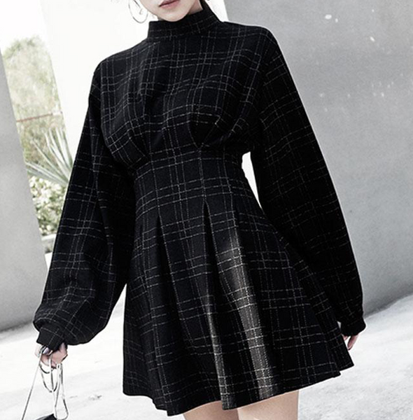 Dark Gothic Festive Vintage Mini Dress Fluffy Sleeves Plaid A Lined Hipster Retro Style Skirt High Waist