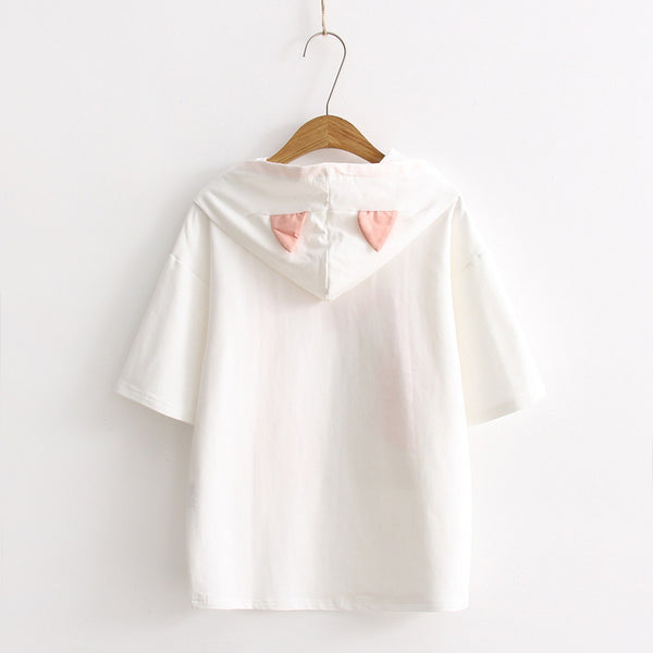 kitten with crescent catear short sleeve T-shirt hoodie for cute Japanese girls pullover 10268
