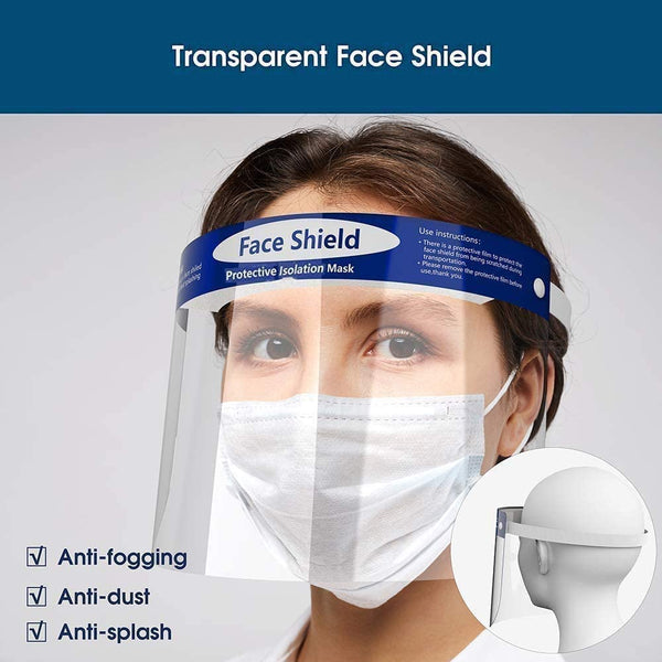 All-Round Visor Cap w/Protective Clear PET Film Elastic Band and Comfort Sponge dustproof Anti-Splash Facial Cover Adjustable adult and kids