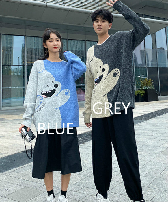2021 korean fashion harajuku cartoon bear loose fit warm sweater knitwear pullover for couples