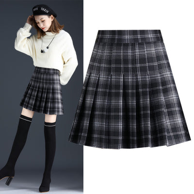 Dark woolen pleated skirt high waist slim fit a-line skirt college style for girls plus size dress