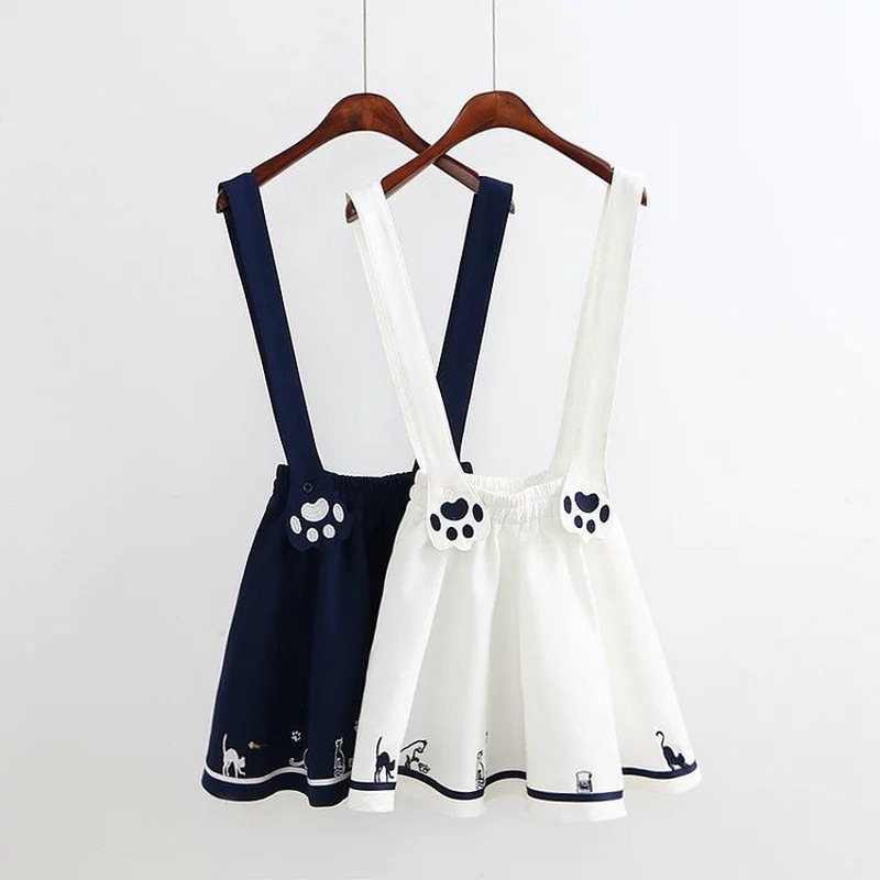 kawaii embroidered kitten footprints sweet suspender skirt pleated overall for juniors