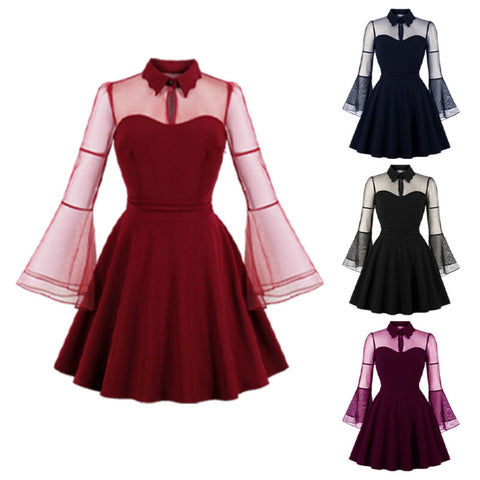 plus size women gothic black queen mesh flared sleeve lapel collar retro vintage dress skater