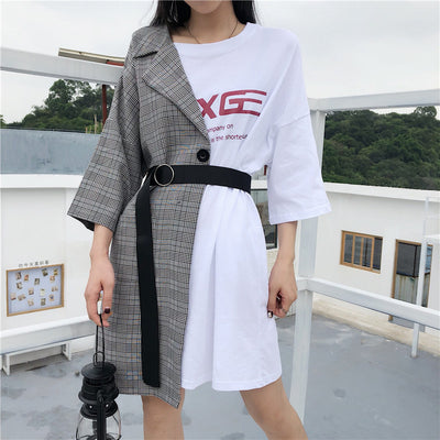 Splicing grid plaid fake 2 piece asymmetric tunic minidress long T-shirt loose fit casual top