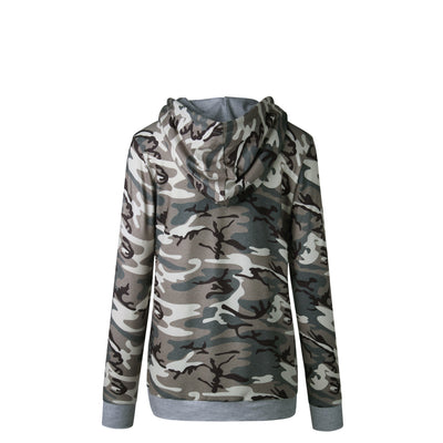 2020 Herbst WInter Hooded Camo Camouflage Print Slim Fit Sweater Hoodie Pullover Top Coat mit Tasche