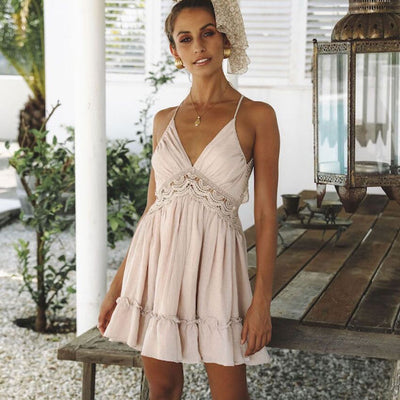 Dreamy Girl Europe US Style Sexy Hollow Back lace Strap Sling Minidress Ruffling Trim Skater