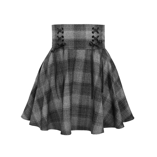 dark gray corduroy plaid high waistline lace up pleated skirt skater Gothic Style for women plus size