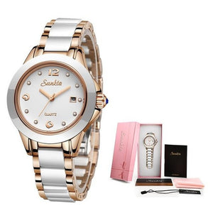 SUNKTA New Rose Gold Watch Women Quartz Watches Ladies Top Brand Luxury Girl WristWatch