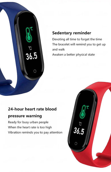 Free Shipment M5 PRO Smart Watch Band bracelet heart rate blood pressure Body Temperature Bluetooth call wristband fitness tracker