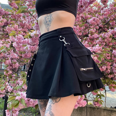Pleated Harajuku Punk Gothic Black High Waist Skirt Patchwork Streetwear with Bandage and Pocket for Women