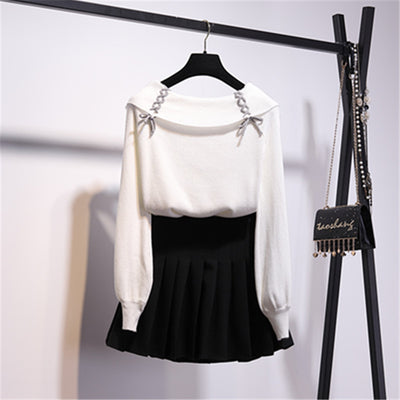 Off shoulder drawstring top sweater pleated skirt slim fit lookbook