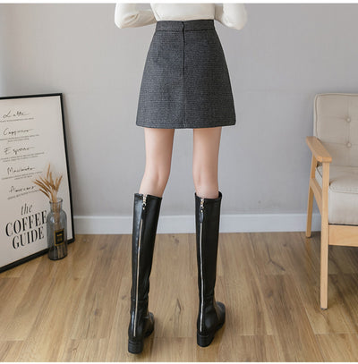new stylish thousands bird plaid woolen A line pleated skirt irregular hem girl high waist pleated for girls in winter