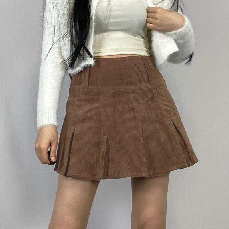 Retro vintage corduroy A-line pleated skirt female high waist slim fit skirt chic streetwear