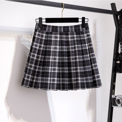 loose fit college navy collar bowknot sweater pleated plaid skirt two-piece set