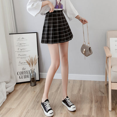 retro kawaii college outfit high-waisted grid print plaid pleated skirt for girls