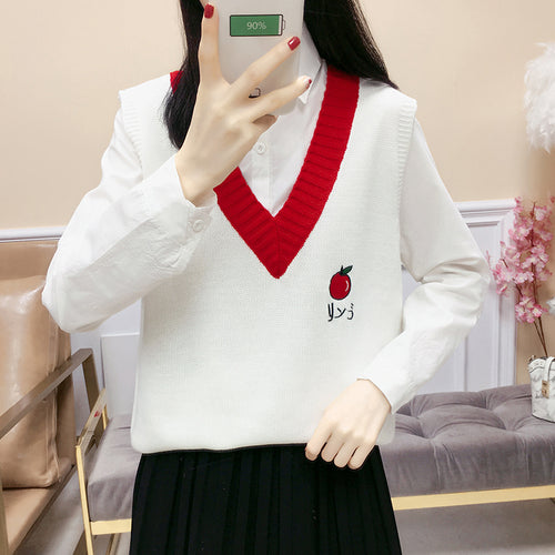 Kawaii V-neck college style knitted woolen vest knitwear embroidery fruit sweater strawberry melon banana