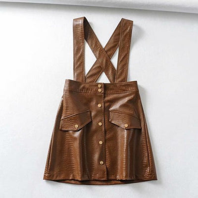 vintage faux leather strap skirt chic kawaii overall pinafore high waist A-line dress with buttons