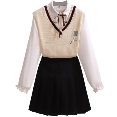 College set for Girls V neck Vest top blouse pleated skirt with ribbon knot bows