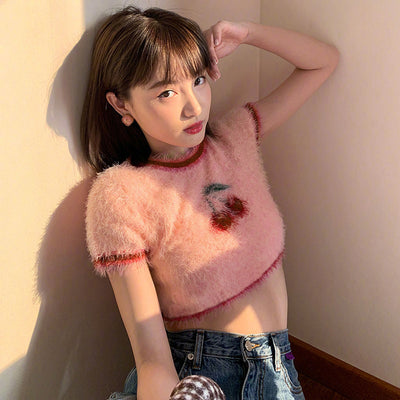 Hairy cherry sweater crop top vest knitwear cami for women