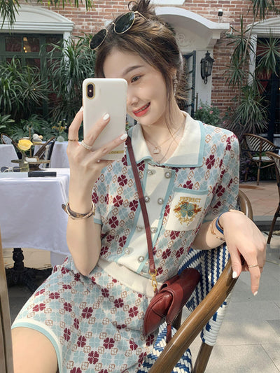 Classic retro knitwear chic hepburn style top and skirt set knitting clover vest cami korea fashion