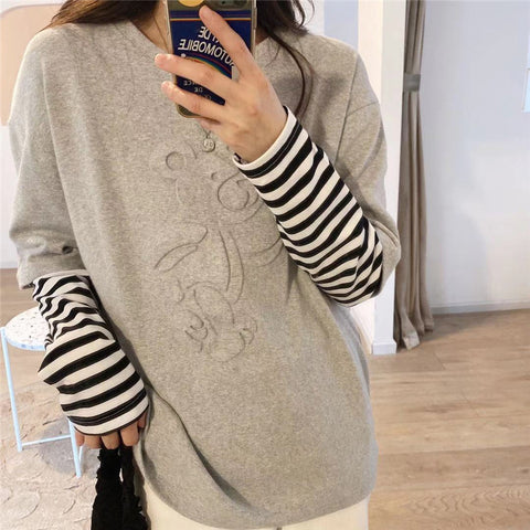 2021 Spring basic cotton shirt cotton embossed bear long sleeve 2in1 fake two-piece T-shirt top