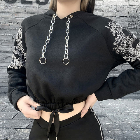 2021 Gothic grunge drawstring hooded hoodie crop top warm sweatshirt dragon print jacket with chain