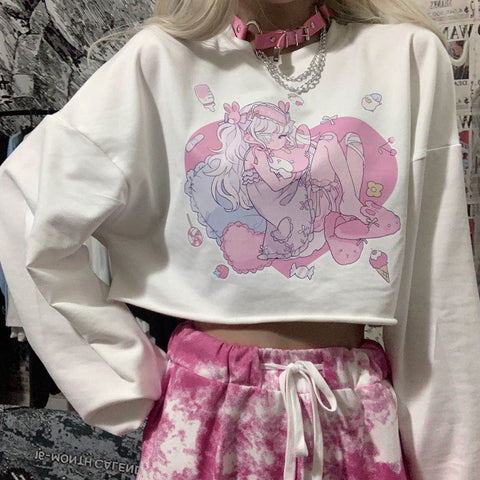 Harajuku bf style loose fit crop top anime girl pullover Tee T-shirt