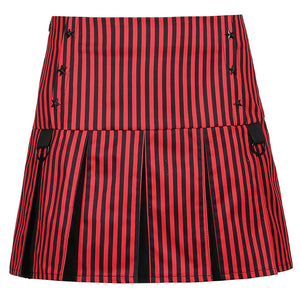 2021 striped pentagram sexy slim contrast decoration D knuckle skirt pleated skirt for girls