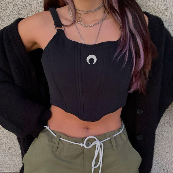 2021 European dark gothic embroidered crescent moon umbilical cord cami sling vest