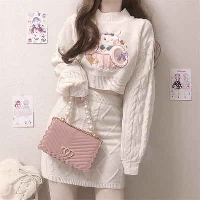 sweet cute kawaii rabbit ribbon sweater top and skirt set twist knitwear
