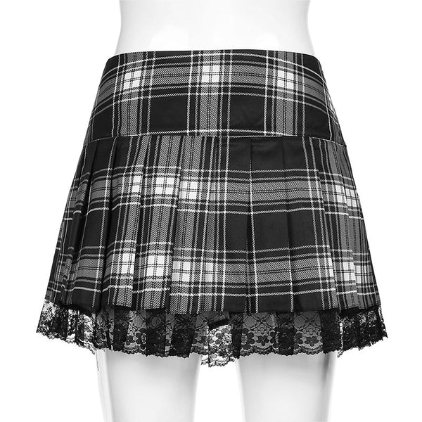 2021 European British style Plaid lace up skirt A-line short party dress for girls