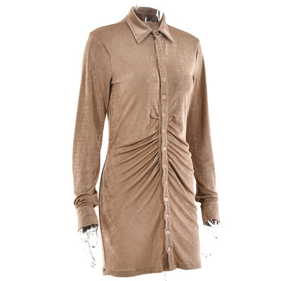 Bobbi Fabric Brushed Silk Ruched Minidress lapel collar single placket sexy dress cardigan