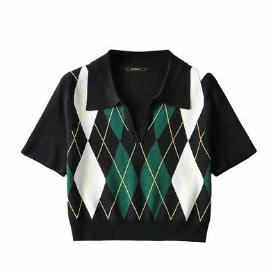 polo collar argyle sweater college style pullover women tee plaid knitwear