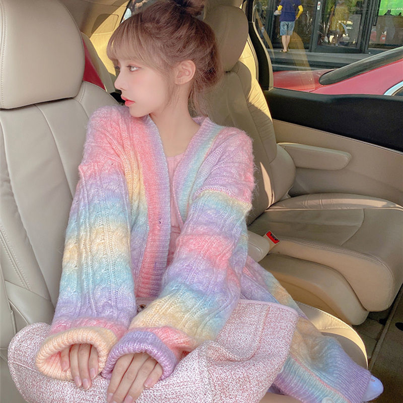 Rainbow candy tiedye color loose fit sweater knitwear cardigan jacket pullover