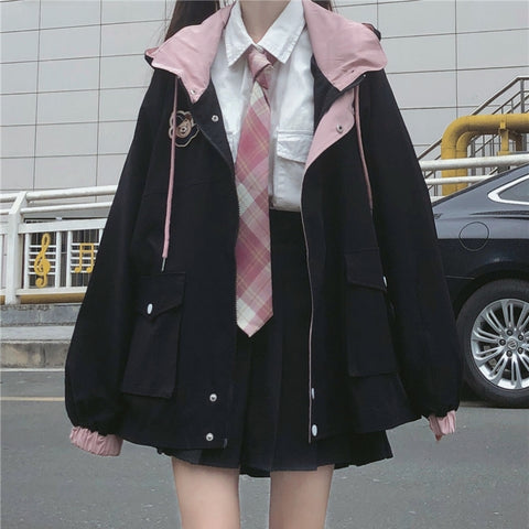 Kawaii baseball uniform japanese college style zipper jacket hoodie Teddy badge for Girls KW91