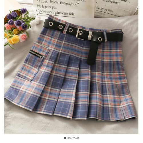 Gradient plaid high waist pleated A-line skirt for 2021 spring Korean style
