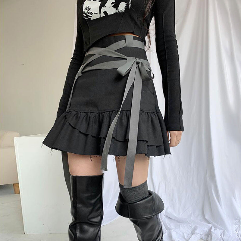 2021 dark gothic casual bandage high waist layered pleated flounces skirt ripped trim