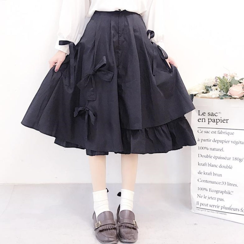 Mourning word coquettish dark gothic kawaii irregular swing layered A-line skirt for girl