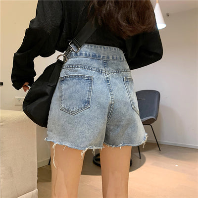 2021 summer high waist wide leg Korean style frayed edge pants A line shorts buckle
