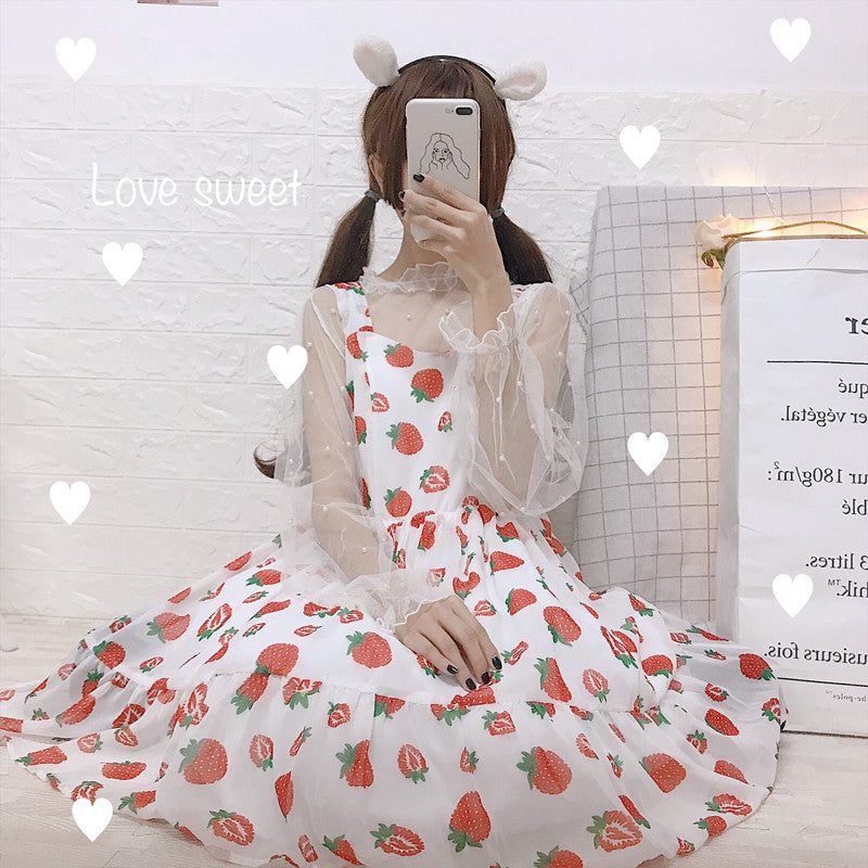 Japanese mesh pearl ruffle collar blouse strawberry Lolita overall dress